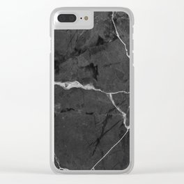 Black minimal marble Clear iPhone Case
