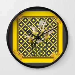 Charcoal Grey-Gold White Calla Lilies Wall Clock