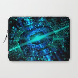 abstract green blue star fractal with bokeh Laptop Sleeve