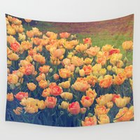 tulips Wall Tapestries featuring Tulips  by Juliana RW