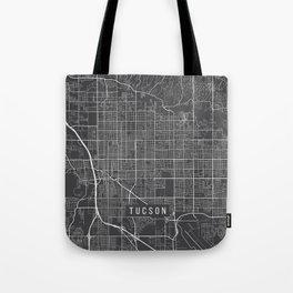 Tucson Map, Arizona USA - Charcoal Portrait Tote Bag