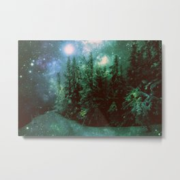Galaxy Winter Forest Green Metal Print