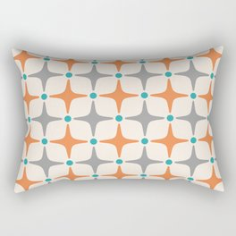 Mid Century Modern Star Pattern Grey and Orange Rectangular Pillow