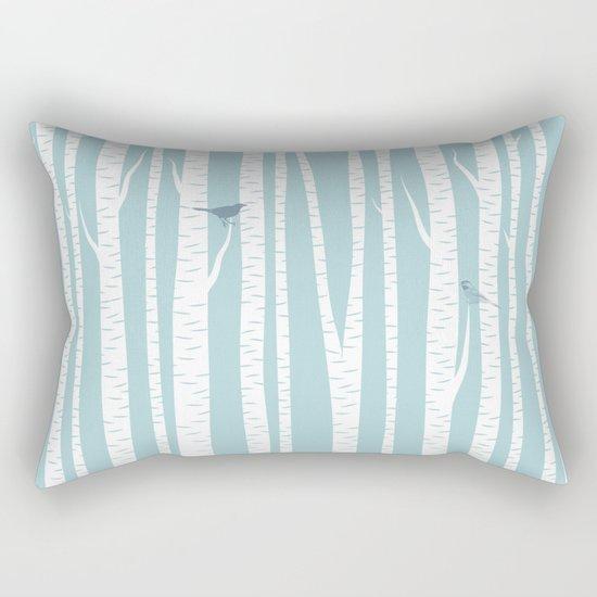 Birch Trees with Bird Rectangular Pillow