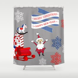 Merry Christmas - Happy New Year Shower Curtain