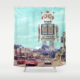 Robot in Town Shower Curtain
