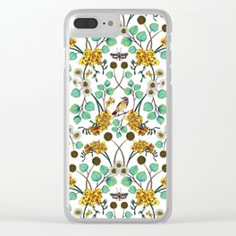 Warblers & Moths - Yellow & Teal Spring Floral/Bird Pattern Clear iPhone Case