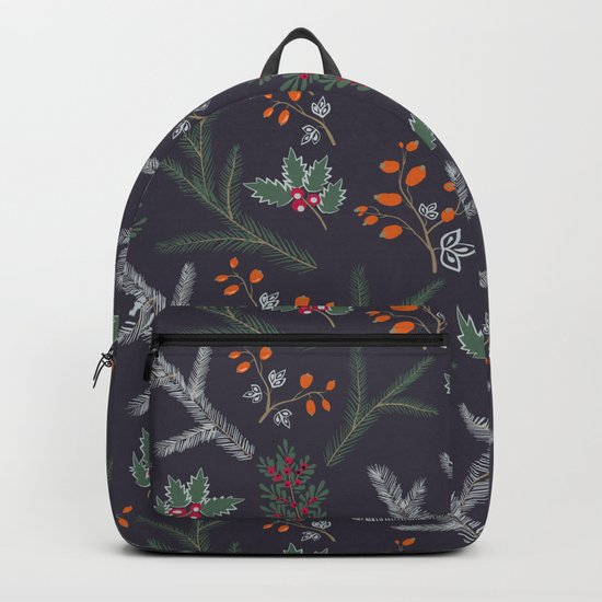 Seamless pattern with floral branches winter christmas hand drawn texture background Backpack