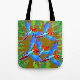 GREEN JUNGLE BLUE MACAW PARROTS Tote Bag