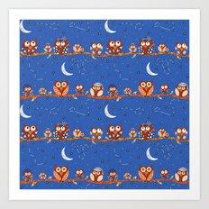 Stargazing Night Owls Art Print