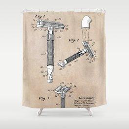 patent art Shnitzler Quick Opening safety razor 1955 Shower Curtain