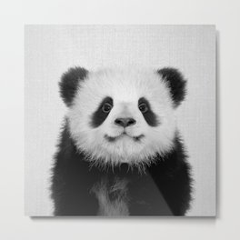 Panda Bear - Black & White Metal Print