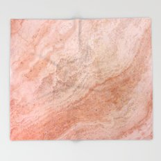 Polished Rose Gold Marble Throw Blanket