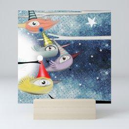 Birds following the stars Mini Art Print