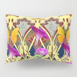Decorative Cream Color & Fuchsia Morning Glories Floral Yellow Butterflies Pillow Sham