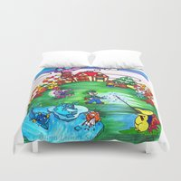 animal crossing Duvet Covers featuring Animal crossing invasioni  by Cristina Lunat Sugamele