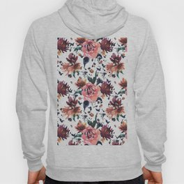 Hand painted coral burgundy watercolor roses floral pattern Hoody