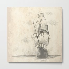 Vintage hand drawn galleon background Metal Print