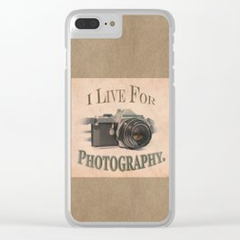 I Live For Photography Vintage Poster Clear iPhone Case