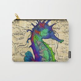 Seahorse Papyrus Map Carry-All Pouch