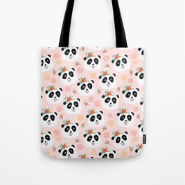 Panda bear with flowers seamless pattern Tote Bag