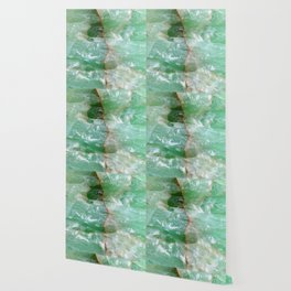 Crystalized Pale Green Quartz Slab with Copper Vein Wallpaper