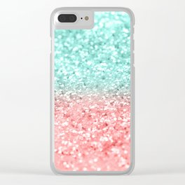 Summer Vibes Glitter #1 #coral #mint #shiny #decor #art #society6 Clear iPhone Case