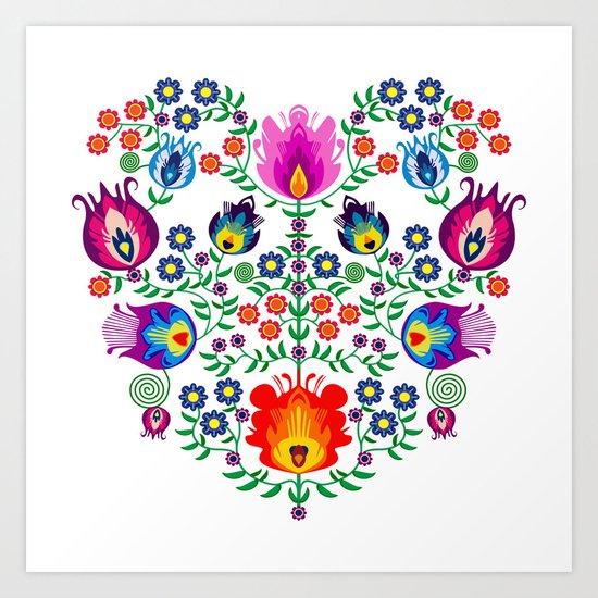 Folk Pattern - Flower Art Print