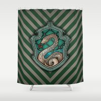 slytherin Shower Curtains featuring Hogwarts House Crest - Slytherin by Teo Hoble