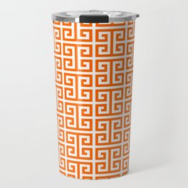 Orange and White Greek Key Pattern Travel Mug