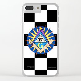 Masonic Square & Compass On Blue Disc Clear iPhone Case