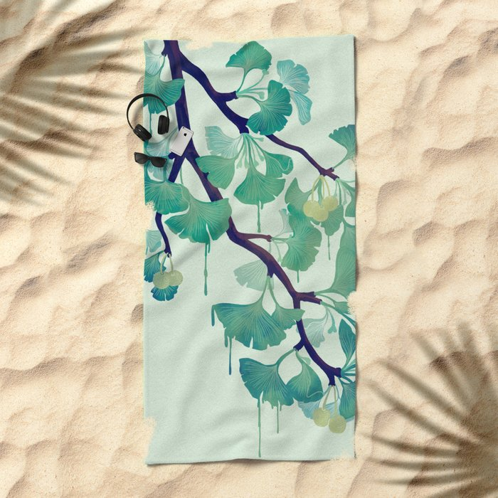 O Ginkgo (in Green) Beach Towel