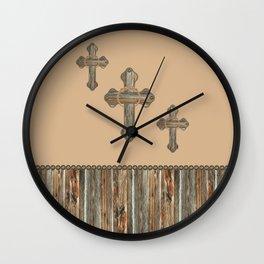 Western Crosses Barn Wood Rope and Concho Print Wall Clock