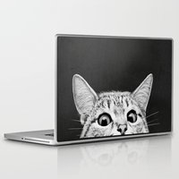 cat Laptop & iPad Skins featuring You asleep yet? by Laura Graves