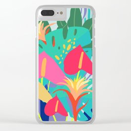 Hothouse Florals, tropical art, Poster. Clear iPhone Case