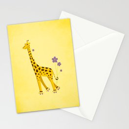 Funny Roller Skating Giraffe In Yellow Stationery Cards