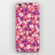 Retro Pink Flowers iPhone & iPod Skin