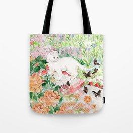 White Cat in a Garden Tote Bag
