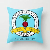 dwight schrute Throw Pillows featuring Schrute Farms | The Office - Dwight Schrute by Silvio Ledbetter