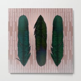 Powder pink and green feathers Metal Print