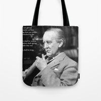 "tolkien Tote Bags featuring ""All that is Gold does not Glitter""-J.R.R. Tolkien by Fabfari"