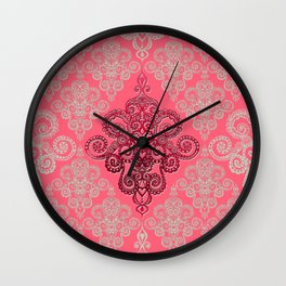 red&grey Baroque Pattern on gentle raspberry Wall Clock