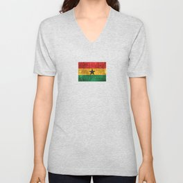 Vintage Aged and Scratched Ghana Flag Unisex V-Neck