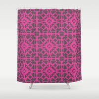 gray pattern Shower Curtains featuring Magenta Gray pattern by xiari