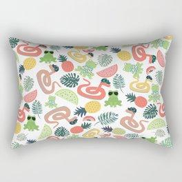 Cute funny animals summer tropical fruit pattern Rectangular Pillow