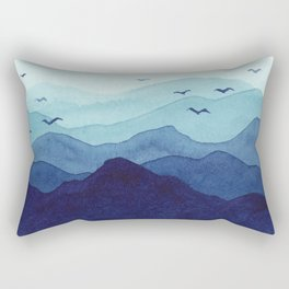 Rolling mountains fade into the mist. Watercolor. Rectangular Pillow