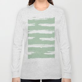 Swipe Stripe White on Pastel Cactus Green Long Sleeve T-shirt