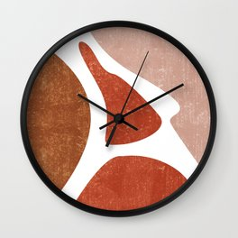Terracotta Art Print 3 - Terracotta Abstract - Modern, Minimal, Contemporary Abstract - Brown, Beige Wall Clock