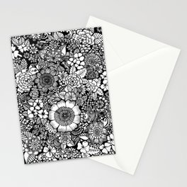 Blackand White Floral Line Drawing Stationery Cards