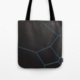 Blue voronoi grate on black background Tote Bag